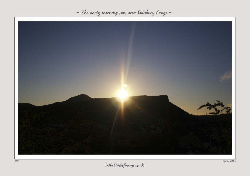 The early morning sun, over salisbury crags